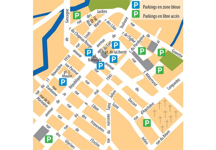 Stationner : Le stationnement est gratuit sur le territoire de la commune. En centre ville, une zone bleue a été mise en place