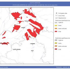 Carte arrêté limitation des usages de l'eau 22-07-19